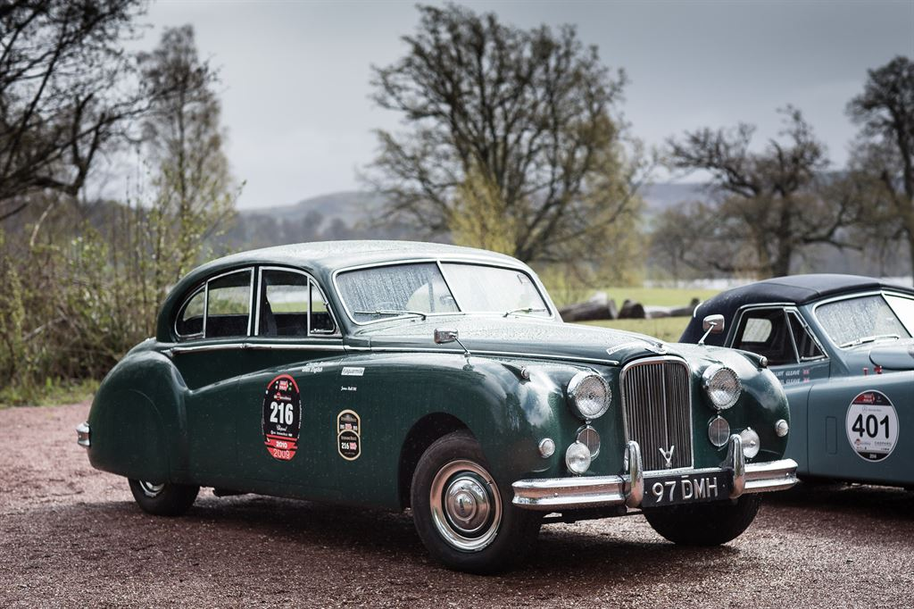 The Jaguar Mk VII participating in the Mille Miglia 2015 with the license plate number 97 DMH